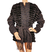 Vintage 1980s Rabbit Fur Hand Woven Knit Jacket by Marilyn Blumer Ladies M L