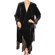 Vintage Ms Emma Designs Black Velvet Jacket Coat Asymmetrical Cut Size Large