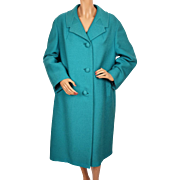 Vintage 1950s Turquoise Blue Saltaire Wool Coat Made in England Ladies Large