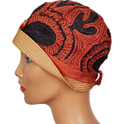 Vintage 1920s Cloche Hat Exceptional Red & Navy Blue Straw Ladies Size S