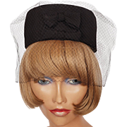 Vintage 1960s Pillbox Hat Black Silk Twill with Veil