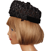 Vintage 1960s Pillbox Hat Black Straw Lattice Work Hannah Hats Montreal