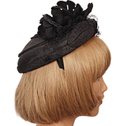 Vintage 1950s Cocktail Hat Black Silk w Felt Flowers