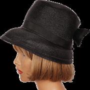 Vintage 1950s Black Straw Bucket Hat High Crown Ladies Size S M