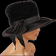 Vintage Black Velvet Wide Brim Hat 1960s Ladies Size XS