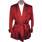 Vintage Red Shiny Smoking Jacket 1940s Bonnington Short Lounging Robe Size L