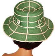 Vintage Green Straw Hat 1960s Mr John Jr Size S / M