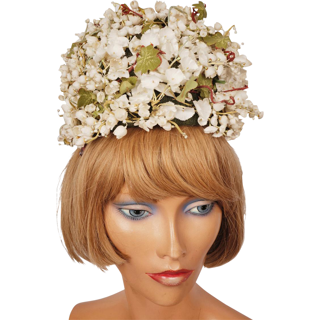 Vintage 1960s White Floral Tall Pillbox Hat Hannah Hats Montreal