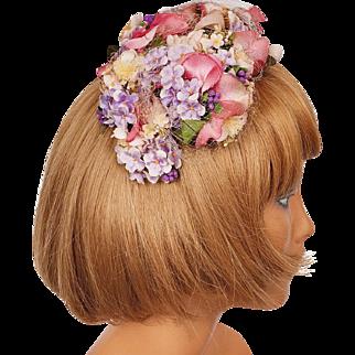 Vintage 1950s Floral Bandeau Half Hat Multicolour Silk Flowers