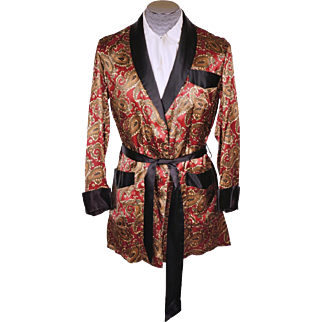 Vintage 1950s Mens Smoking Jacket Short Lounging Robe Mister Ease by Rochester