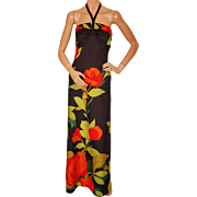 Vintage 1970s Halter Maxi Dress Rose Floral Pattern -  Polyester Jersey - Size M