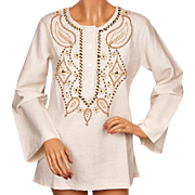 Vintage 70s Hippie Wood Beaded Linen Tunic Top Blouse Made in India NOS