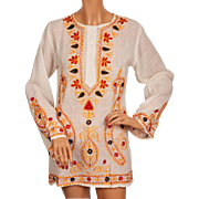 Vintage 70s Indian Embroidered Gauze Cotton Tunic Top Blouse NOS