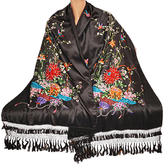 Vintage Chinese Embroidered Black Silk Shawl Stole Multicoloured Embroidery 1930s