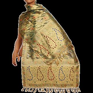 Vintage Indian Woven Gold Metallic Shawl 1930s Wedding Sari Mundanai