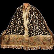 Vintage Indian Woven Gold Silk Shawl w Animal Motifs 1930s Formal Sari Scarf