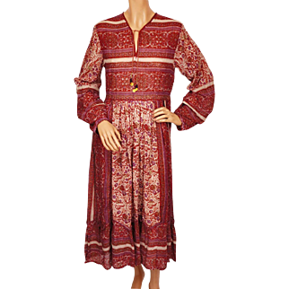 Vintage Indian Cotton Gauze Dress Printed Red Floral Pattern 1970s NOS