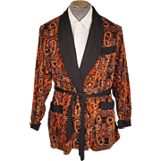 Vintage Mens Smoking Jacket 1960s Majestic Orange & Black Paisley Velveteen - M