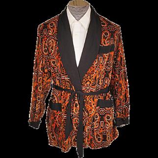 Vintage Mens Smoking Jacket 1960s Majestic Orange & Black Paisley Velveteen - M