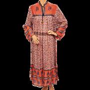 Vintage Hippie 70s Indian Cotton Gauze Dress Coral Floral Ptn NOS Large