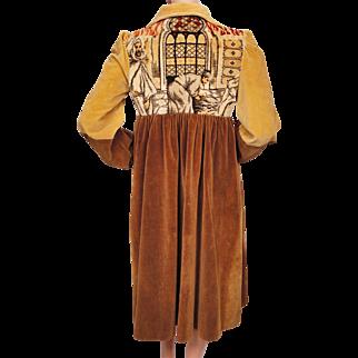 Vintage 60s Velvet Coat Middle Eastern Scene Upscale Hippie Ladies Size M