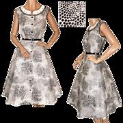 Vintage 1950s Black and White Polka Dot Cotton Dress - XL