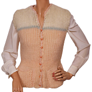 Vintage Hand Knit Wool Vest 1930s Ladies Size M