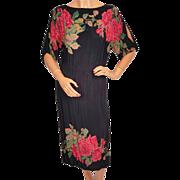 Vintage 1970s Black Dress with Roses Print - S - M