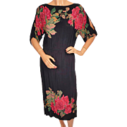 Vintage 1970s Black Dress with Roses Print - S - M
