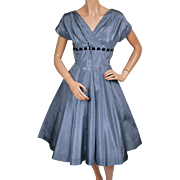 Vintage 1950s Blue Taffeta Party Dress Size Medium