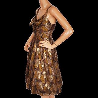 Vintage 1960s Floral Lamé Brocade Party Dress Size M