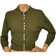 Vintage 50s Drumlanrig Cashmere Sweater Olive Green Cardigan Made in Scotland - M