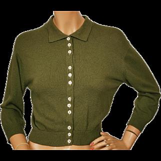 Vintage 50s Drumlanrig Cashmere Sweater Olive Green Cardigan Made in Scotland - M