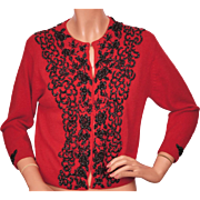 Vintage 1950s Red Beaded Wool Cardigan Sweater