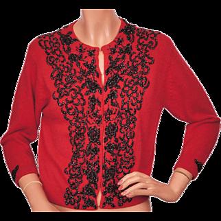 Vintage 1950s Red Beaded Wool Cardigan Sweater