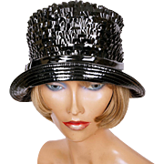 Vintage 60s Black Vinyl Bucket Hat by Elizabeth Ford NY Ladies Size S