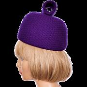 Vintage 60s Mod Purple Wool Pillbox Hat Ladies Size S M