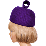 Vintage 60s Mod Purple Wool Pillbox Hat Ladies Size S M