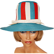 Vintage 1960s Red and White and Turquoise Blue Striped Straw Hat