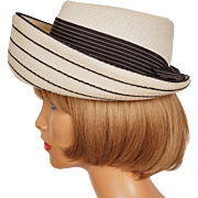 Vintage 1950s Striped White and Black Straw Hat - Breton Style Hat