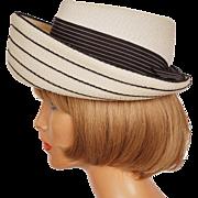 Vintage 1950s Striped White and Black Straw Hat - Breton Style Hat