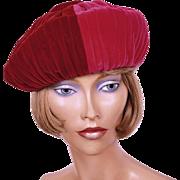 Vintage 1960s Crimson and Shocking Pink Velvet Beret Hat