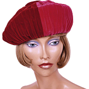 Vintage 1960s Crimson and Shocking Pink Velvet Beret Hat