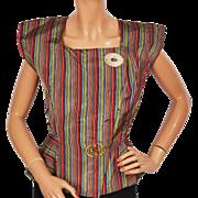 Vintage 1940s Striped Taffeta Top Blouse Modernist Form w Large Lucite Buttons Size M