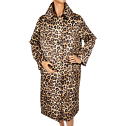 Vintage 60s Leopard Print Raincoat Kismet Made in France Nylon Coat Ladies Size L