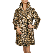 Vintage 60s Faux Fur Leopard Coat Acrylic Pile Fabric Ladies Size M