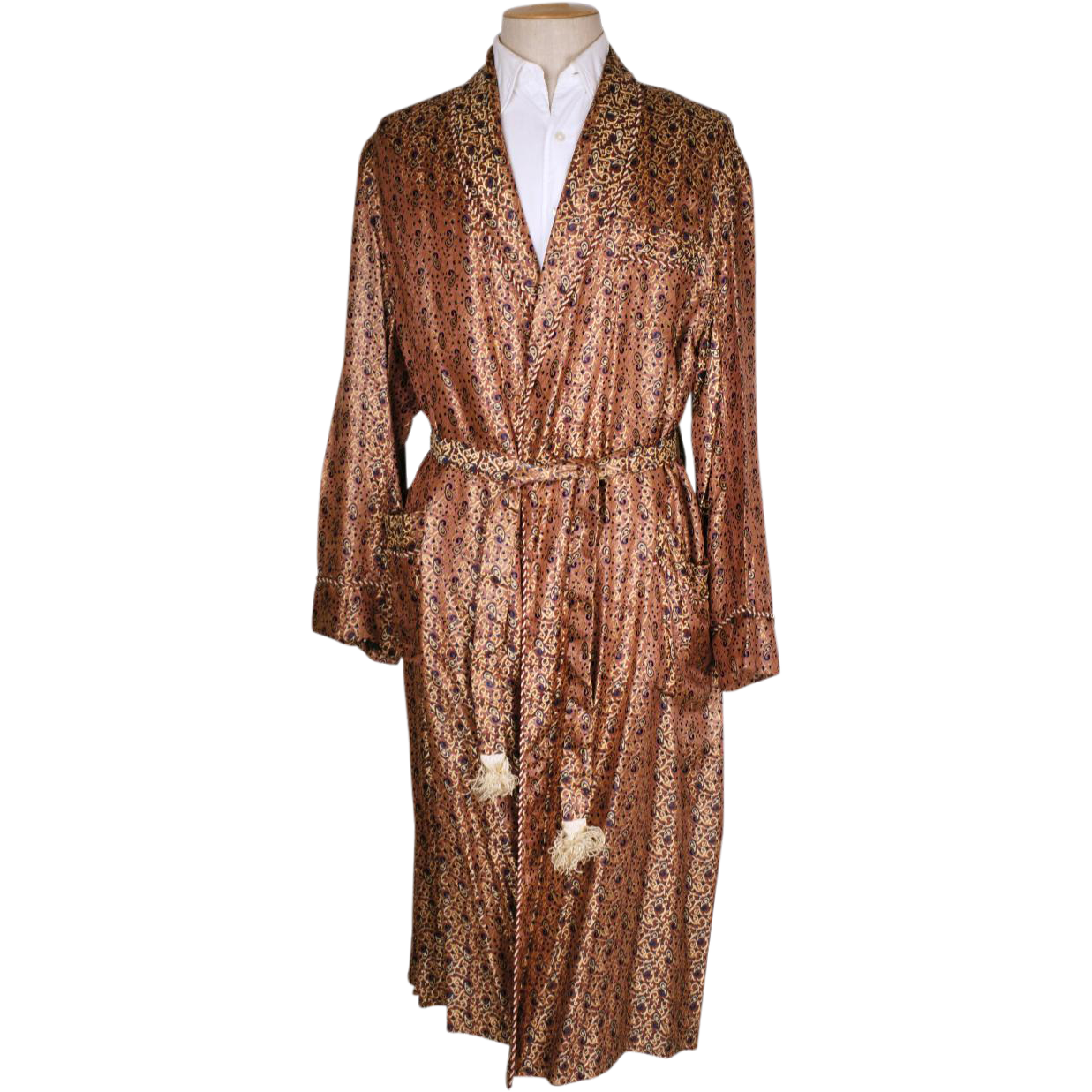 1940s Dressing Gown: Vintage 50s Mens Dressing Gown 1950s Woven Satin Brocade