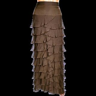 Vintage 1980s Brown Silk Chiffon Ruffled Skirt - Full Length - Serge & Réal - L