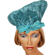 Vintage 1960s Turquoise Blue Straw Beret