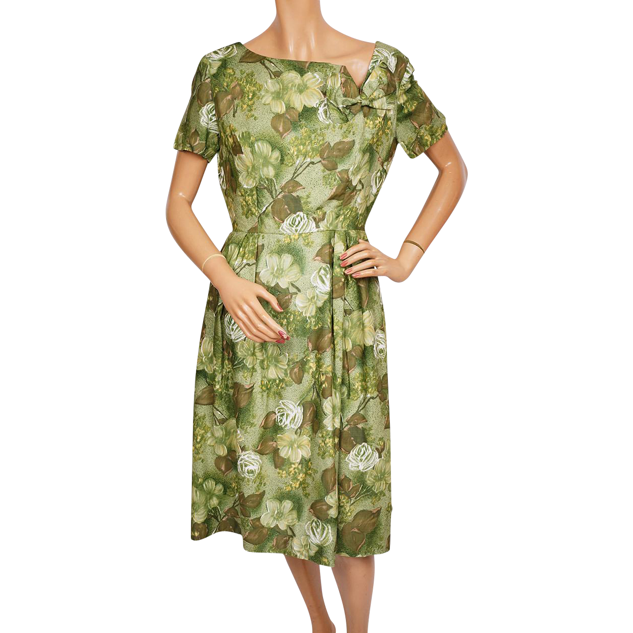 Vintage 60s Green Floral Print Cotton Dress Size M Medium